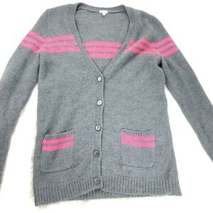 J Crew Gray Pink Striped Small Pocketed Cardigan